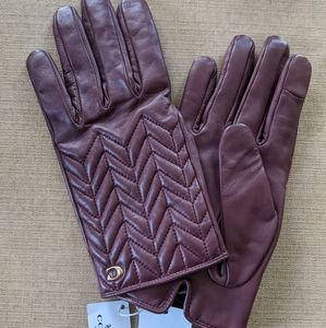 NWT Coach Leather Tech Gloves - Wine